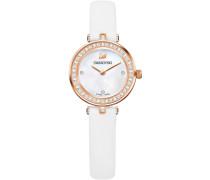 Aila Dressy Mini Uhr, Lederarmband, weiss, roséfarben