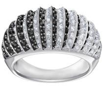Luxury Domed Ring, schwarz, rhodiniert Grünblau Rhodiniert