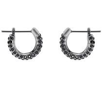Stone Ohrringe, klein, schwarz, rhodiniert Grünblau Rhodiniert