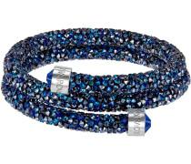 Crystaldust Doppel-Armreif, blau, Edelstahl