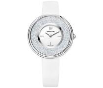 Crystalline Pure Uhr, Lederarmband, weiss, silberfarben Weiss Edelstahl