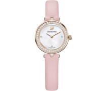 Aila Dressy Mini Uhr, Lederarmband, rosa, Farbton Champagne Gold
