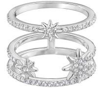Fizzy Ring Set Weiss Rhodiniert