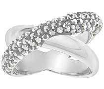 Crystaldust Cross Ring, grau, palladiniert Grau Rhodiniert