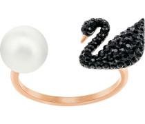 Iconic Swan Offener Ring, schwarz, Rosé vergoldet