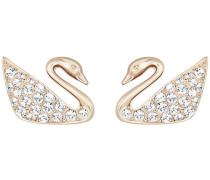 Swan Mini Ohrringe, weiss, rosé Vergoldung Weiss Rosé vergoldet