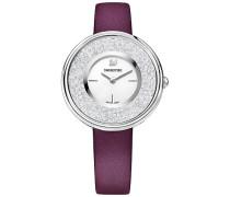 Crystalline Pure Uhr, Lederarmband, violett, silberfarben Weiss Edelstahl