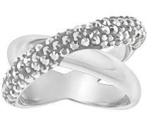 Crystaldust Cross Ring, grau, palladiniert