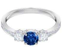 Attract Trilogy Round Ring, blau, rhodiniert