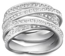 Spiral Ring, weiss, rhodiniert