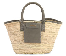 LE PANIER SOLEIL STRAW & LEATHER BAG