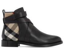 30MM PRYLE LEATHER & CHECK ANKLE BOOTS