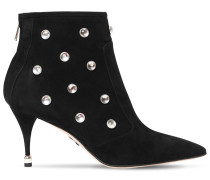 75MM EMBELLISHED SUEDE ANKLE BOOTS