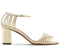70MM METALLIC LEATHER SANDALS