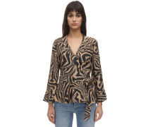 PRINTED CREPE WRAP SHIRT