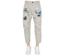 19CM CHINOHOSE AUS TWILL MIT PATCHES