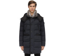 COTTON BLEND DOWN JACKET W/ FUR