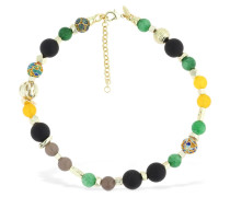 BEADED AGATE & JADE NECKLACE