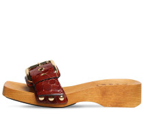 40MM CROCO EMBOSSED PATENT LEATHER CLOGS