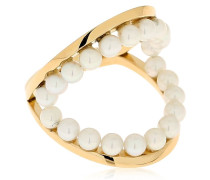 TWIN HOOPS KNUCKLE RING W/ PEARLS