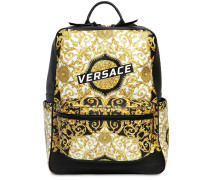 LOGO BAROQUE PRINT LEATHER BACKPACK