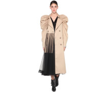 COTTON TRENCH COAT W/ PUFF SLEEVES