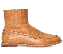 10MM CROC EMBOSSED LEATHER LOAFER BOOTS