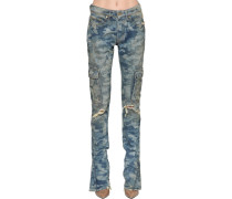 CAMOUFLAGE PRINTED COTTON DENIM JEANS