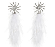CRYSTAL STAR CLIP-ON EARRINGS W/FEATHERS