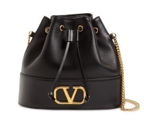 VLOGO LEATHER BUCKET BAG