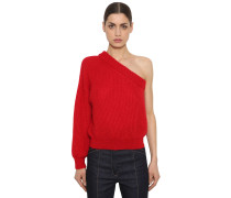 ONE SLEEVE MOHAIR BLEND KNIT PULLOVER