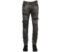 17CM JEANS AUS STRETCH-DENIM IM DESTROYED-LOOK