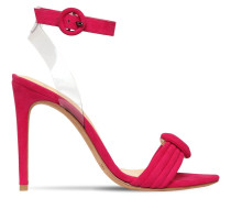 100MM VICKY SUEDE & PLEXI SANDALS