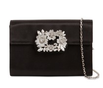 BOUQUET EMBELLISHED SATIN CLUTCH