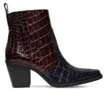 70MM CALLIE CROC EMBOSSED LEATHER BOOTS