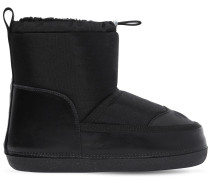 NYLON & FAUX SHEARLING SNOW BOOTS