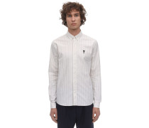 STRIPED LOGO PATCH COTTON OXFORD SHIRT