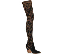 100MM FF KNIT & LEATHER THIGH BOOTS
