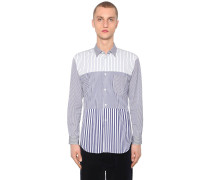 STRIPED PATCHWORK COTTON POPLIN SHIRT