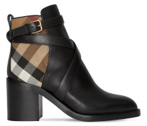 70MM PRYLE LEATHER & CHECK BOOTS
