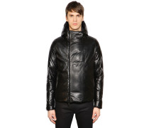 SLIM FIT HOODED LEATHER DOWN JACKET