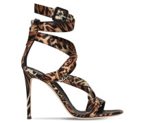 105MM ANIMALIER SATIN SANDALS