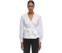 COTTON POPLIN WRAP SHIRT