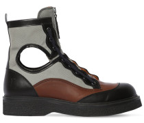40MM LEATHER & CANVAS ZIP-UP BOOTS