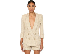 DOUBLE BREAST COTTON BLEND TWEED JACKET