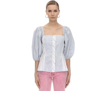 STRIPED COTTON POPLIN CORSET SHIRT