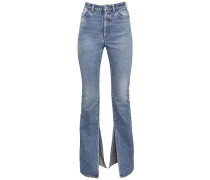COTTON DENIM FLARED JEANS W/ANKLE SLITS