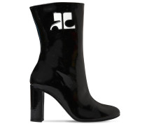 100MM PATENT LEATHER ANKLE BOOTS