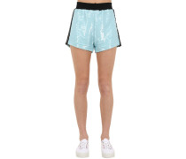 SEQUINED SHORTS W/SIDE BANDS