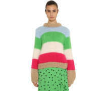 JULLIARD STRIPED MOHAIR KNIT PULLOVER